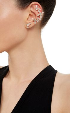 Rose Gold Plated Swarovski Crystal Ear Cuff with Stud by Ryan Storer for Preorder on Moda Operandi
