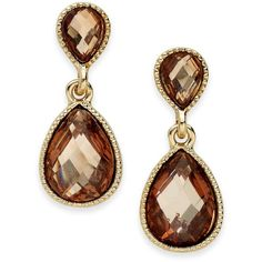 Style & co. Earrings Gold-Tone Brown Stone Double Teardrop Earrings (48 RON) ❤ liked on Polyvore featuring jewelry, earrings, teardrop stone earrings, gold tone earrings, tear drop earrings, cabochon jewelry and goldtone jewelry