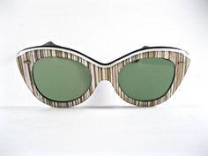 59c8788ab0 Gold striped vintage cat eye sunglasses. Oversized 1950s layered plastic  frames. Tinted non-prescription lenses