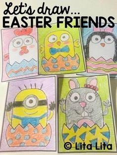 Let's Draw Easter Friends FREEBIE - What a fun brain break idea during the week of Easter, even for the upper elementary kiddos! Moon Projects, Art Projects, Drawing For Kids, Art For Kids, Children Drawing, Drawing Art, Elementary Art, Upper Elementary, Directed Drawing