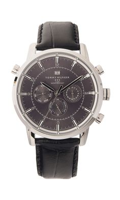 Men's black leather strap watch from Tommy Hilfiger. Great for a Father's Day or graduation gift!