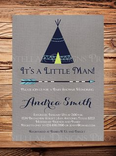 Tribal TEEPEE Baby Shower Invitation Gray by StellarDesignsPro