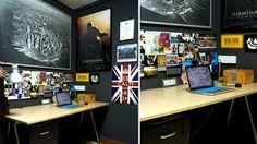 Image result for dark grey home office