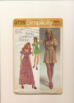 1970s Dress Sewing Pattern Vintage Mini by TheVintageAlchemist, $5.25