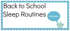 Back to School Sleep Routines #ONatural