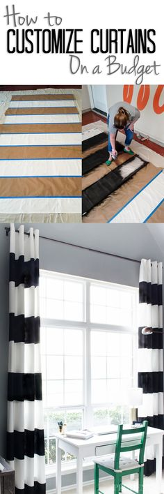 How to (and how NOT to) paint curtains to get a custom look without a custom budget. Curtains for oversized windows can be expensive, but starting with IKEA curtains and then adding your own design can save TONS of money.