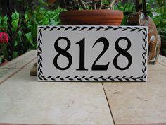 BLACK LEAF Pattern Custom Tile House Number , house numbers, address tile, address plaque, house number plaque