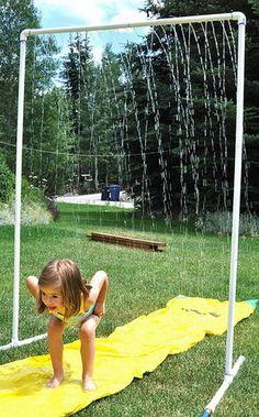 pvc pipe yard sprinkler for kids