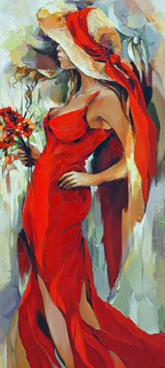 #Acrylic #Art #People - Elena Filatov, Musetouch - love the red dress.. http://www.ablankcanvas.net