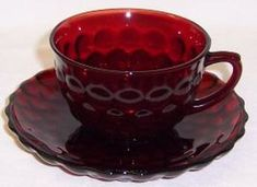 Anchor Hocking Fire King Red BUBBLE Tea or cup 1960s. by StraitsAntiques