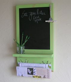 Mail Holder Organizer Chalkboard in Lime Sorbet or by Route17West, $49.00