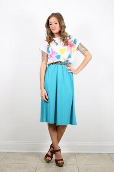 Vintage Teal Green Dress White Rainbow Floral by ShopTwitchVintage #vintage #etsy #70s #1970s #dress #midi #tshirt #floral #colorblock #sundress