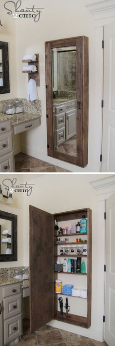 Bathroom Mirror Storage. Giant medicine cabinet with a mirror behind the bathroom door.