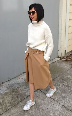 cc186d64aef Zara belted midi skirt and Zara side zip knit sweater with Adidas stan  smiths Adidas Stan