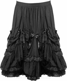 Mid-length length ruffled gothic skirt by Sinister, beautifully ornate with lace and loops.