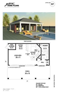 Pool House with Bedroom Elegant Floor Plan Pool House Plans Awesome Unique Garage Home Small Outdoor Pool, Indoor Outdoor, Outdoor Living, Pool Gazebo, Pool House Plans, Small House Plans, Bungalow, Small Pool Houses, Pool House Designs