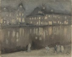 Grand Canal, Amsterdam; Nocturne, 1883-84, Watercolor on paper: James McNeill Whistler