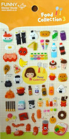 Japanese/ Korean  Puffy  Sticker- Food Collection III
