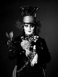 photoshoot tim burton film Black and White movie Alice In Wonderland johnny depp rabbit Mad Hatter