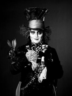 photoshoot tim burton film Black and White movie Alice In Wonderland johnny depp rabbit Mad Hatter