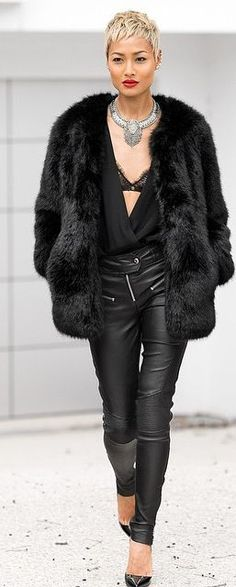 All In Black Leather And Faux Fur Winter Outfit by Micah Gianneli