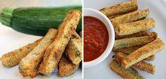 Palitos de calabacín al horno con salsas #recetas