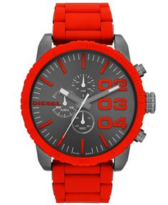 Diesel Watch, Men's Chronograph Red Silicone-Wrapped Stainless Steel Bracelet 52mm DZ4289