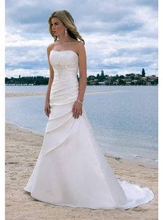 Draped Strapless Chapel Train A-line Wedding Dress