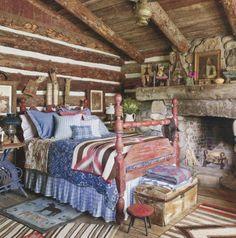 guest bedroom of Ralph Lauren's Colorado ranch