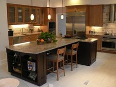 Tshaped Kitchen Island with seating The center island has a