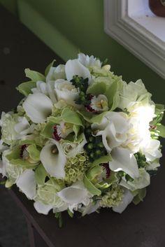 Calla lilies and cymbidiums