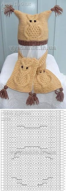 Baby Knitting Patterns Scarf Set 'Owls' (hat and scarf) Baby Knitting Patterns, Knitting Stiches, Baby Hats Knitting, Crochet Baby Hats, Crochet Lace, Crochet Patterns, Knitted Owl, Knitted Hats, Cardigan Bebe