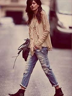 Free People Raw Destroyed Boyfriend