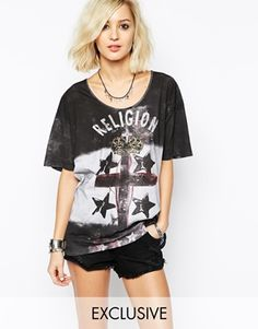 Religion Oversized T-Shirt With Cross Logo & Stripe Print