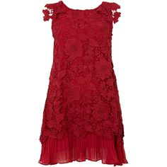 Jolie Moi Crochet lace swing dress (145 PLN) found on Polyvore featuring women's fashion, dresses, short dresses, clearance, red, red dress, short chiffon dress, red a line dress, mini dress and red mini dress