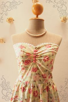 Strapless Dress  Yellow Floral Dress  Vintage by Amordress on Etsy