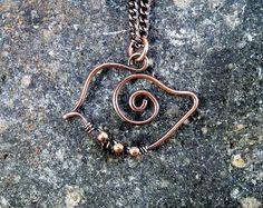 Wire Wrapped Bird Pendant Necklace Copper.  Wire by JayelleJewelry, $28.00
