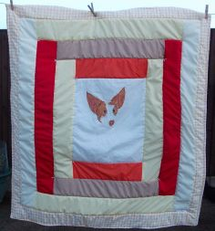 Commissioned item for podenco rescue, hand painted onto fabric and turned into a double bed sized throw