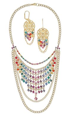Bib-Style Necklace and Earring Set with Swarovski Crystal Beads and Gold-Plated Brass Chain