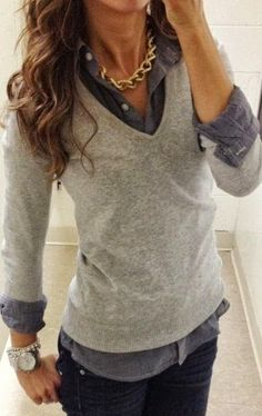 Teaching: v neck sweater over collared button up