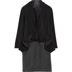 Paper London Plot ruffled wool-blend and pinstriped twill coat ($245) ❤ liked on Polyvore featuring outerwear, coats, black, wool blend coat, pinstripe coat, ruffle coat, peplum coat and petite coats