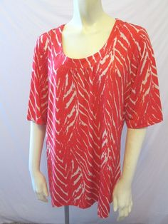 Susan Graver Style Liquid Knit Printed Polyester Spandex Shirring Top L A199400 #SusanGraver #KnitTop #Career