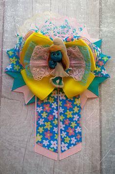 Smurfette Big bow Bows for hair Smurfs birthday Smurfs hair