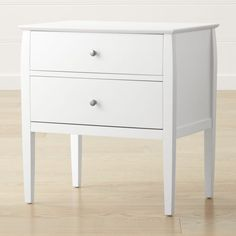 Shop Mason 2-Drawer White Nightstand.   Two generously sized drawers provide space to stow bedside essentials, accented with round nickel-finished pulls.  Designed by Blake Tovin, the Mason Nightstand is a Crate and Barrel exclusive.
