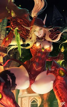 Blood Elf and Valeera Sanguinar (World of Warcraft) drawn by 21YC (september breeze)