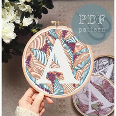 Botanical Letter J Hand Embroidery Pattern / Hand Embroidery Letters, Hand Embroidery Flowers, Embroidery Patterns Free, Hand Embroidery Stitches, Embroidery Hoop Art, Hand Embroidery Designs, Crewel Embroidery, Geometric Embroidery, Hungarian Embroidery