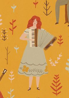 Naomi Wilkinson, ilustration, print, accordian, figure, print, colour, forest, nature, folk art