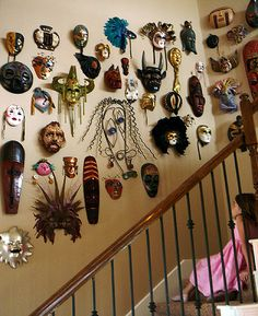 Collection of masks from world folklore- part Jungian/Campbell, part Freudian psychoanalytic, all syncretic. I have a few already, but would love more for my future place.
