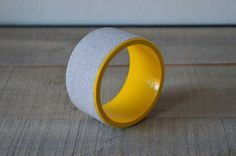 Concrete on wooden bangle in grey and yellow - Fashion statement bracelet