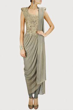 Lovely saree drape Churidaar Suit